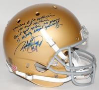"Rudy Ruettiger Signed Full-Size Notre Dame Fighting Irish Helmet with ""5 Foot Nothin"" Speech Extensive Inscription (Steiner)"