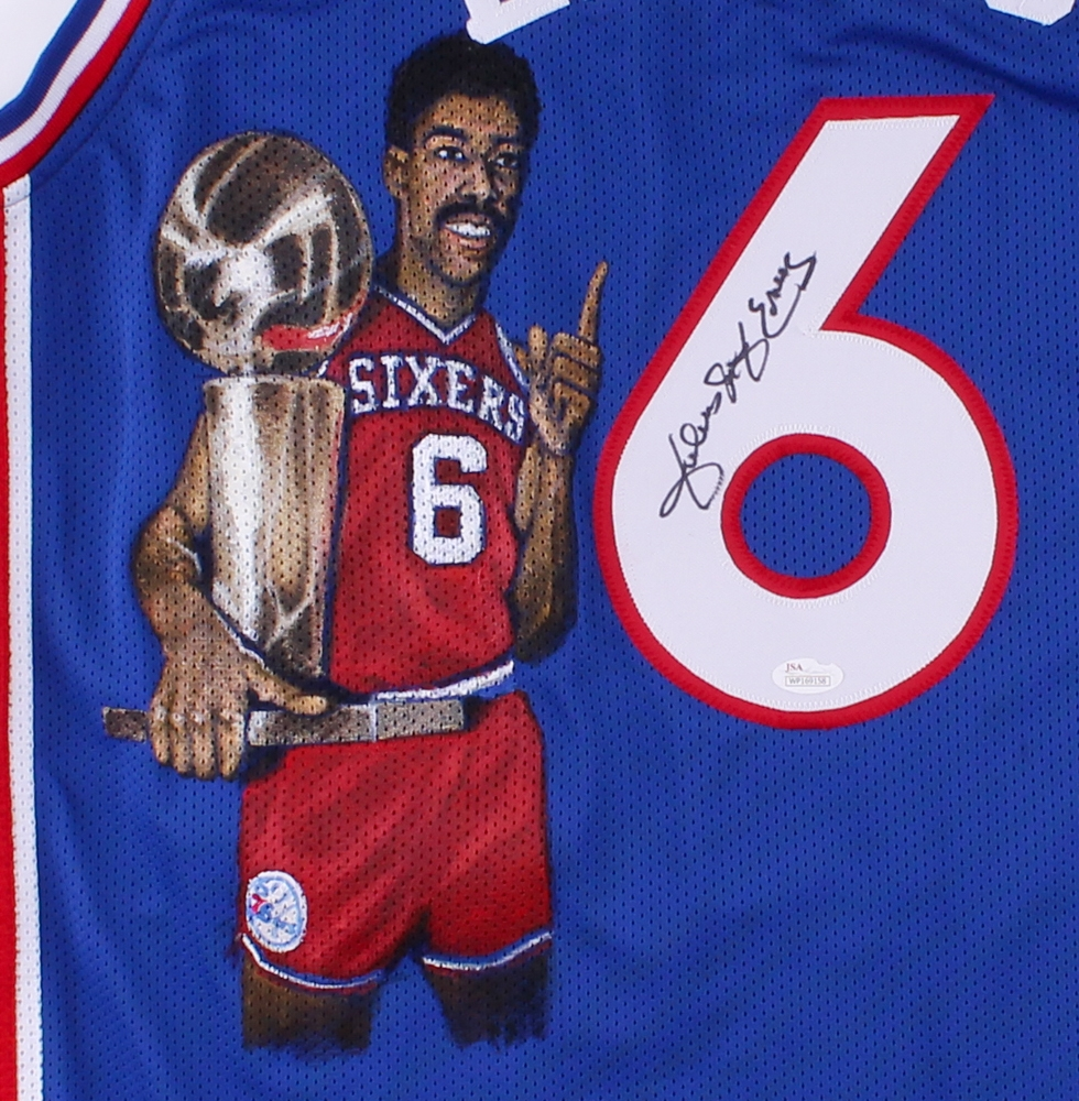9cea59e5e Julius Erving Signed 76ers Jersey with Hand-Painted Portrait (JSA COA) at  PristineAuction ...