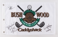 "Chevy Chase, Cindy Morgan & Michael O'Keefe Signed ""Bush Wood Country Club"" Caddyshack Golf Pin Flag Inscribed ""Noonan"" & ""Lacey"" (JSA COA)"