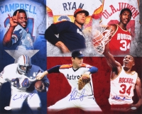 Hall of Famers 16x20 Photo Signed by (3) with Nolan Ryan, Earl Campbell & Hakeem Olajuwon (JSA COA & Nolan Hologram)