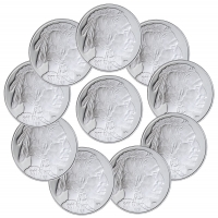 Lot of (10) 2017 American Indian Buffalo Design 1 oz. .999 Fine Silver Rounds from Highland Mint (Brilliant Uncirculated)
