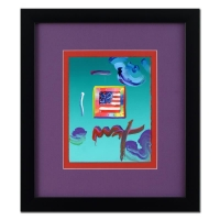 "Peter Max ""Flag with Heart"" Signed 8.5"" x 11"" Original Acrylic Mixed Media Painting 1/1 (Custom Framed to 18.75"" x 21"") (Max COA)"
