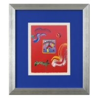 "Peter Max ""Cosmic Jumper"" Signed 8.5"" x 11"" Original Acrylic Mixed Media Painting 1/1 (Custom Framed to 19"" x 21.5"") (Max LOA)"