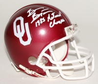 "Brian Bosworth Signed Oklahoma Sooners Mini-Helmet Inscribed ""1985 National Champs"" (JSA COA)"