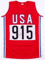 Carl Lewis Signed Team USA Olympic Jersey (JSA COA)