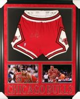 Scottie Pippen Signed Bulls 35x43 Custom Framed Game-Used Shorts Display (JSA)