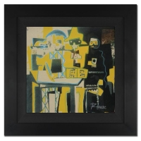 "Ringo Signed ""Three Musicians"" 20x20 Custom Framed One-of-a-Kind Mixed Media Painting on Canvas at PristineAuction.com"