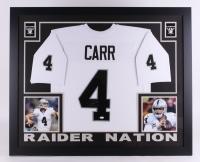"""Derek Carr Signed Raiders 35"""" x 43"""" Custom Framed Jersey (JSA COA)"""