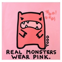 "Todd Goldman Signed ""Real Monsters Wear Pink"" 36x36 Original Acrylic Painting on Canvas"