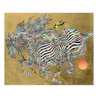 """Guillaume Azoulay Signed """"El Dorado"""" Limited Edition 17x21 Giclee on Canvas with Hand Laid Gold Leaf"""