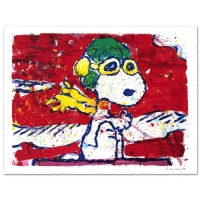 "Tom Everhart Signed ""Low Fat Meal Over Santa Monica"" Limited Edition 28x37 Hand Pulled Original Lithograph"