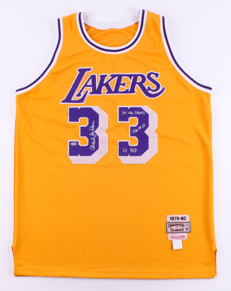 Kareem Abdul-Jabbar Signed Lakers 1979-80 Throwback Mitchell   Ness Jersey  Inscribed