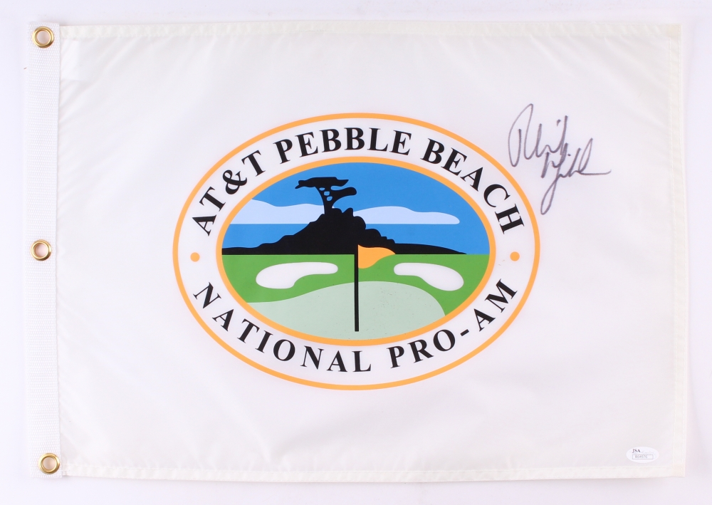 Phil Mickelson Signed At T Pebble Beach National Pro Am Golf Pin Flag Jsa Coa