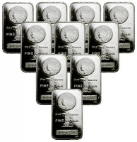 Lot of (10) Morgan Dollar Design 1 oz. .999 Fine Silver Bars from Highland Mint (Brilliant Uncirculated & Sealed) at PristineAuction.com