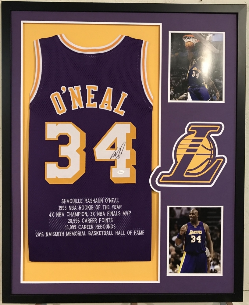 66db5972249 ... Shaquille ONeal Signed Lakers 34x42 Custom Framed Career Highlight Stat  Jersey (JSA COA .