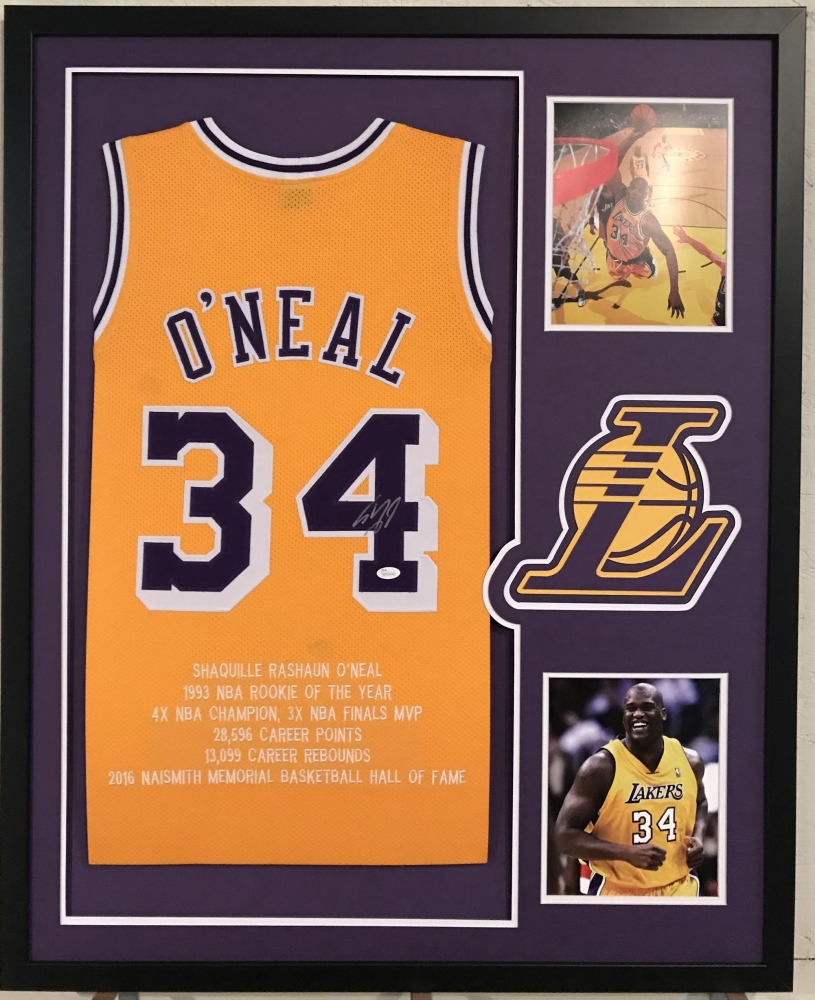 5ed021848f0 ... at PristineAuction Shaquille ONeal Signed Lakers 34x42 Custom Framed  Career Highlight Stat Jersey (JSA COA ...