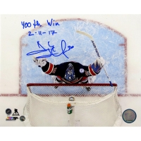 "Henrik Lundqvist Signed Rangers ""400th Win Overhead Shot"" 8x10 Photo Inscribed ""400th Win 2-11-17"" (Steiner COA)"