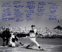 """Yogi Berra Tribute"" 20x24 Metallic Photo Signed by (24) with Jorge Posada, Joe Torre, Bucky Dent, Mel Stottlemyre, Whitey Ford (Steiner COA)"
