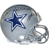 Troy Aikman, Michael Irvin & Emmitt Smith Signed Cowboys Authentic Proline Helmet (Steiner COA)