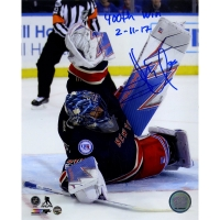 "Henrik Lundqvist Signed Rangers 8x10 Photo Inscribed ""400th Win"" & ""2-11-17"" (Steiner COA)"