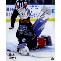 "Henrik Lundqvist Signed Rangers 16x20 Photo Inscribed ""400th Win"" & ""2-11-17"" (Steiner COA)"