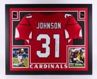 """David Johnson Signed Cardinals 35"""" x 43"""" Custom Framed Jersey (JSA COA)"""