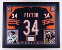 "Walter Payton Signed Bears 35"" x 43"" Custom Framed Display with Jersey & Signed Index Card (Payton COA) at PristineAuction.com"