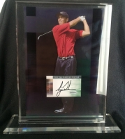 "Tiger Woods Signed ""2002 PGA Player of the Year"" 3D Floating Display (UDA)"