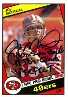 "Joe Montana Signed LE 1984 Topps #358 Football Card Inscribed ""4-0 in SB 11TD's - 0int's Perfect"" (Steiner COA)"