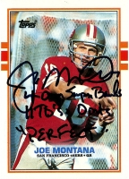 "Joe Montana Signed LE 1989 Topps #12 Football Card Inscribed ""4-0 in SB 11TD's - 0int's Perfect"" (Steiner COA)"