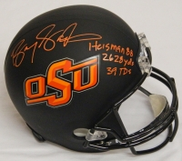 Barry Sanders Signed Oklahoma State Cowboys Black Riddell Full-Size Replica Helmet w/3 Inscriptions at PristineAuction.com