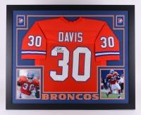 "Terrell Davis Signed Broncos 35"" x 43"" Custom Framed Jersey Inscribed ""SB XXXII MVP"" (JSA COA)"