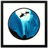 "Wyland ""Turtle Kiss"" Signed Original Watercolor on 19"" Round Deckle-Edge Paper (Custom Framed to 29.5"" x 29.5"")"
