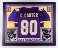 """Cris Carter Signed Vikings 35"""" x 43"""" Custom Framed Jersey (JSA COA)"""