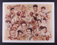 """2000 NSCC Champions 20"""" x 26"""" Lithgraph Signed by (12) with Leon Spinks, Roberto Duran, Jake Lamotta (JSA ALOA)"""