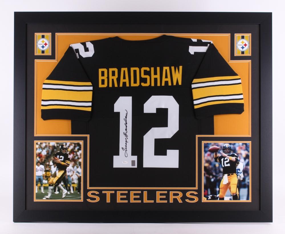 526b0f50c01 Terry Bradshaw Signed Steelers 35x43 Custom Framed Jersey (JSA COA   Bradshaw  Hologram) at