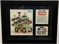 "Mort Walker Signed ""Beetle Bailey"" 7"" x 9"" Custom Framed Cartoonist Display"