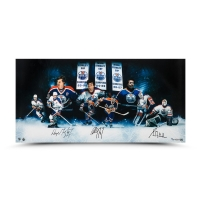 "Wayne Gretzky, Paul Coffey & Grant Fuhr Signed ""Outstanding Oilers"" LE 36"" x 18"" Photo (UDA COA)"