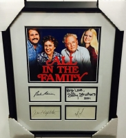 """All In The Family Cast-Signed 16"""" x 20"""" Custom Framed Cut Display with (4) Signatures Including Carroll O'Connor, Jean Stapleton, Sally Struthers & Rob Reiner (JSA LOA)"""