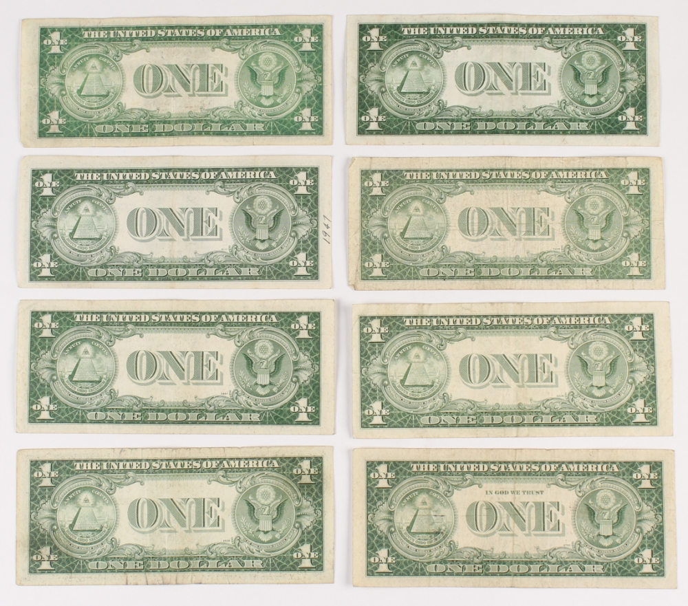 Online sports memorabilia auction pristine auction lot of 8 1935 1 one dollar blue seal silver certificates at pristineauction 1betcityfo Images