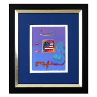 """Peter Max """"Flag with Heart"""" Signed 8.5"""" x 11"""" Original Acrylic Mixed Media Painting 1/1 (Custom Framed to 20"""" x 22.5"""") (Max LOA)"""