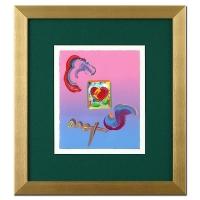 "Peter Max ""Heart"" Signed 8.5"" x 11"" Original Acrylic Mixed Media Painting 1/1 (Custom Framed to 19.25"" x 21.25"") (Max LOA)"