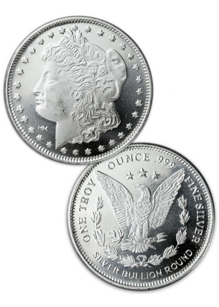 1 Oz Morgan Design Silver Round 999 Fine