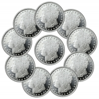 Lot of (10) Morgan Design 1 oz. .999 Fine Silver Rounds from Highland Mint (Brilliant Uncirculated)