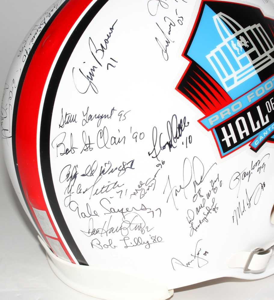 e05a8ccd9 NFL HOF Full-Size Helmet Signed by (49) with Jim Brown
