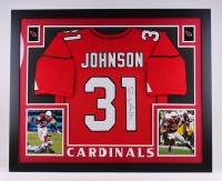 """David Johnson Signed Cardinals 35.5"""" x 43.5"""" Custom Framed Jersey Display (JSA COA)"""