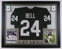 """Le'Veon Bell Signed Michigan State Spartans 35.5"""" x 43.5"""" Custom Framed Jersey (JSA COA)"""