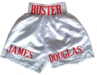"James Buster Douglas Signed Boxing Trunks Inscribed ""Tyson KO 2.10.90"" (JSA COA)"