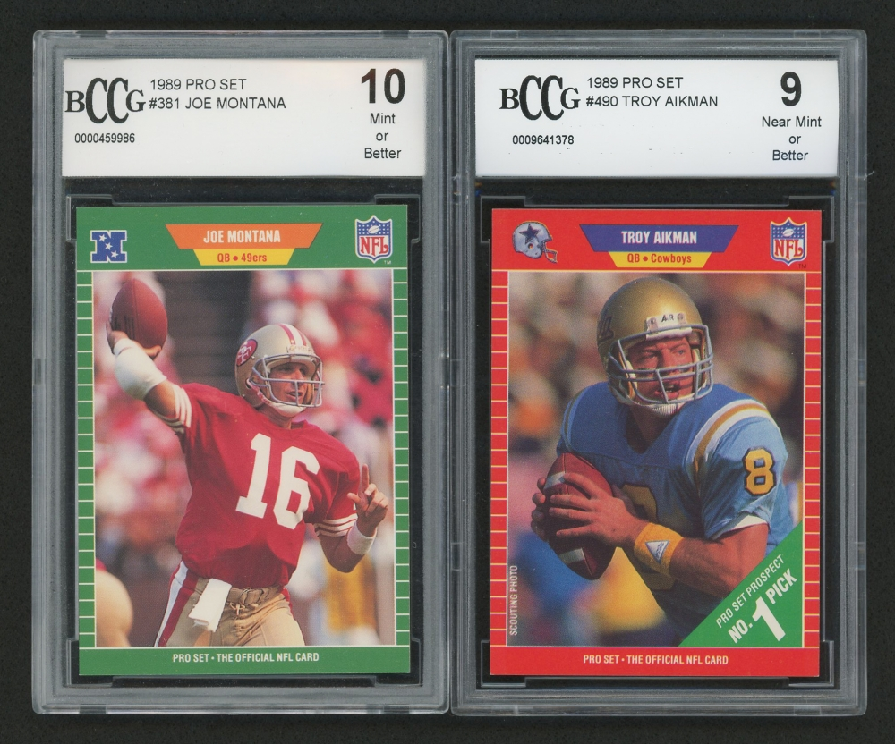 Lot Of 2 BCCG Graded 1989 Pro Set Football Cards With 490 Troy