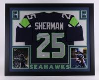"Richard Sherman Signed Seahawks 35"" x 43"" Custom Framed Jersey (JSA COA)"